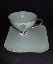 WESTMINSTER FINE CHINA AUSTRALIA, TEACUP SAUCER DUO , GREEN WITH 22K GOLD GILT.