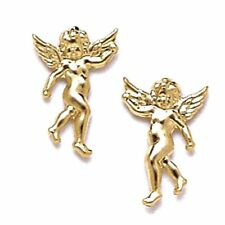Women/Childrens Unique 14K Solid Yellow Gold 9x14MM Angel Stud Earrings PushBack