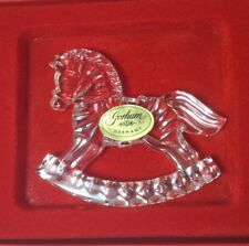 Gorham Lead Crystal Holiday Rocking Horse Ornament New With Card