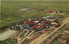 Clewiston Florida~Aerial View Sugar Mill~US Sugar Corp~Factory~1940s Linen