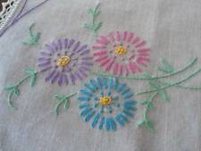 Vintage Hand Embroidered Tablecloth Topper Lazy Daisies Butterfly Lace Doily 20""
