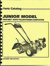 Troy Bilt Junior Tiller Parts Catalog/Manual 1986