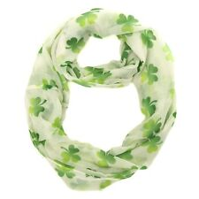 St. Patrick's Day Shamrock Infinity Scarf White Green Ombre Shamrocks One Size
