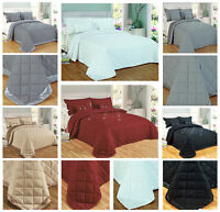 Reversible 5Pcs Luxury Diamond Quilted Bedspread Bed Throw Pillow Shams +Cushion