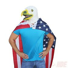 Rubber Latex Bald Eagle Head Face Mask Patriotic US American Flag Cape Costume