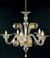 Lampadario di murano -1008/5 Cristallo Oro - Montatura Oro 24k