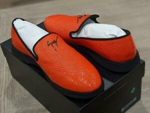 $620 Mens Giuseppe Zanotti Varnished Leather Loafers Coral 44 US 11
