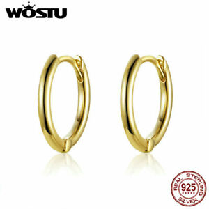 Wostu 925 Sterling Silver Huggie Earrings Women Jewelry With Gold Plated Gifts