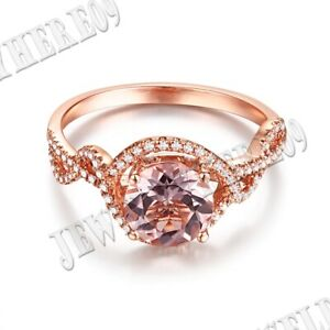 Silver Setting Round 7mm Pink Morganite Real SI/H Diamonds Gemstone Ring Jewelry