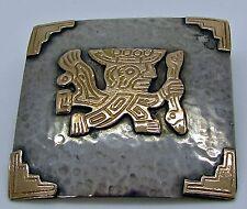 Silver Pendant Brooch Hammered Square Ri 9360 Peru Inca God 18 K Gold Sterling