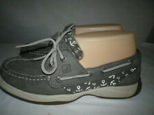 SPERRY TOP SIDER Gray Leather White Anchors Deck Boat Shoes Womens Sz 6.5M