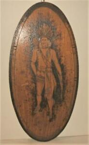 Large 1906 Pyrography Oval Plaque of Native American, Signed & Dated