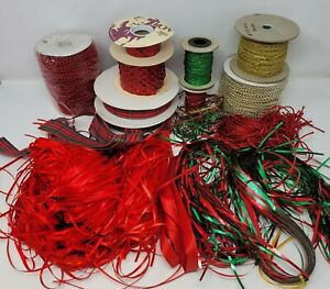 Huge Lot of Red & Green Christmas Craft Supplies Ribbons, Trims, Beaded Garland