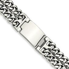 Stainless Steel Heavy Wide Double Design ID Name Bracelet Free Engraving Gift