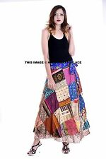 Indian Women Patchwork Rapron Satin Silk Long Wrap Around Skirt One Size Skater