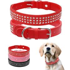"""1.5"""" Wide Leather Rhinestone Dog Collar Diamante for Labrador Rottweiler M L XL"""