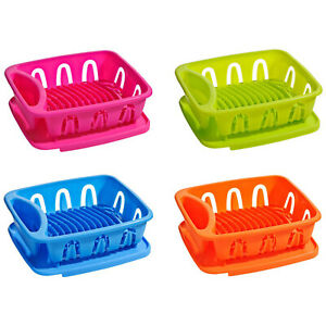 Kitchen Plate Dish Drainer Utensil Rack Cutlery Plates Holder Plastic Drip Tray