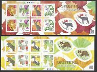 Japan 2016 Greeting Autumn  Animals Bear Rabbit Stamps  Mini S/S Sticker x 2