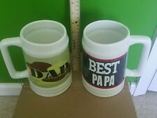 """2 Giant coffee mugs 7"""" tall Dad and Best Papa"""