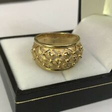 Hallmarked 9ct 9k Yellow Gold QVC Quilt Quilted Wide Dome Band Ring Size P