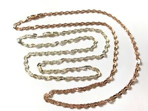 2 Silver chain necklace, one is copper coloured silver, both marked 925 silver