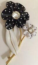 Avon 2002 Spectator Flower Pin Black White Polka Dot Never Worn Cute!