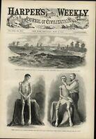 Starved Union War Prisoner 1864 antique Harpers Civil War print