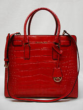 $398 NWT MICHAEL KORS DILLON LARGE NS CROCO EMBOSSED TOTE 30H4GAIT3E CHILI NEW!