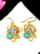 Opal Cubic Zirconia Pearl Earrings Designer Israel 925 Vermeil Sterling Blue