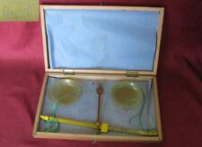 19C ANTIQUE MEDICAL APOTHECARY 10g. BRONZE SCALES BOXED w/CELLULOID CUPS BOSCH