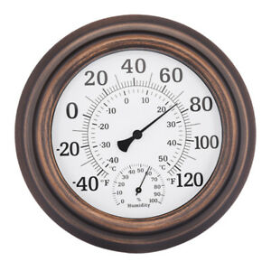 8-inch Bronze Wall Thermometer Hygrometer Thermo-hygrometer Hygro-thermometer
