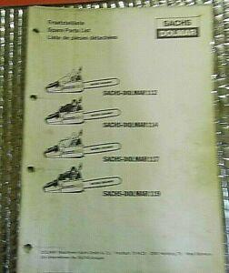 SACHS DOLMAR CHAINSAW Spare Parts List Manual 112 114 117 119