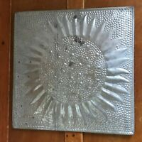 Rustic Hosley Marked Embossed Silver Metal Sunflower Square Wall Hanging – 12.25