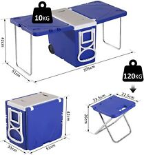 More details for foldable multi function rolling cooler table ice chest picnic camping party