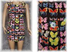 BUTTERFLY & FLOWERS Sleeveless SUMMER Mini DRESS Sz: 1 (XS) Casual Career FRANCE