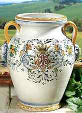 INTRADA Italian Ceramic Umbrella Stand Pot Urn w/ Lion Handles Handmade in Italy