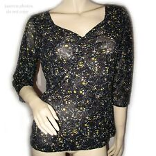 Multicolor Black Yellow Bubble Polka Dots Pattern 3/4 Sleeve V-Neck Top Blouse L