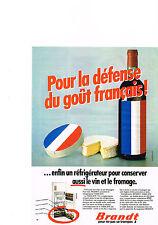 PUBLICITE  1980   BRANDT   éléctroménager réfrigérateur