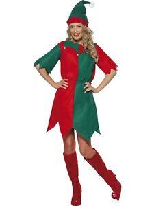 LADIES GREEN & RED ELF XMAS OUTFIT CHRISTMAS FANCY DRESS COSTUME SANTAS HELPER