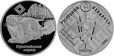 Weißrussland 1 Rubel 2006 Europäischer Nerz  Prooflike