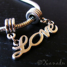 1PC Silver Love Charm For All European Style Charm Bracelets Or Necklace Chain