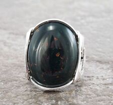 Large Sterling Silver Heliotrope Bloodstone Wire Wrapped Ring