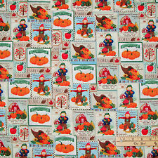 Thanksgiving Greeting Harvest Scarecrow Pumpkin Stamps Fall Fabric by the 1/2 Yd
