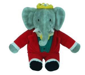 """King Babar the Elephant Vintage 1988 Plush Stuffed Animal Gund Red Tuxedo 15"""""""