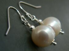 Large Ivory White Banded Baroque Freshwater Pearls, 925 Sterling Silver Earrings