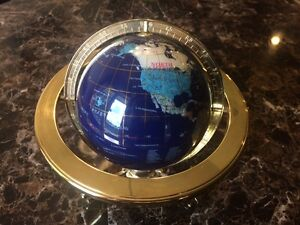 Blue World Globe, Inlaid Stones with Gold colored metal Tripod Ocean Stand