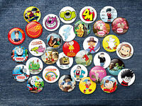Retro Kids Cult TV 38mm Character Badges Fun novelty classic collectable 70s 80s