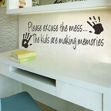 Family Wall Decal Please Excuse the Mess Kid Child Playroom quotes Vinyl Sticker