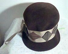 Vintage Coronet women's brown felt cloche bucket style hat