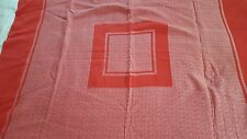 """Solid red silver cotton mix square heavy fabric tablecloth 45"""" x 46"""" vintage"""